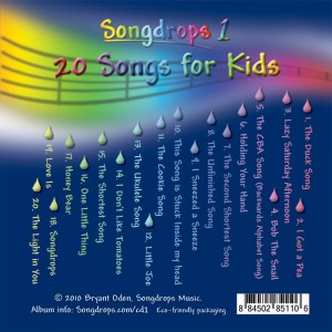 Songdrops 1: 20 Songs for Kids. Front Cover